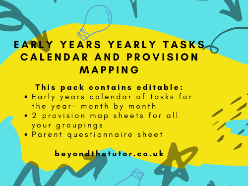 Early Years Yearly Task Calendar and Provision Maps