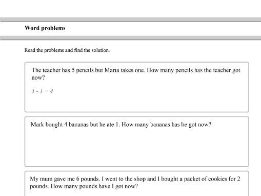 Subtractions word problems for Year 1 and Year 2 students