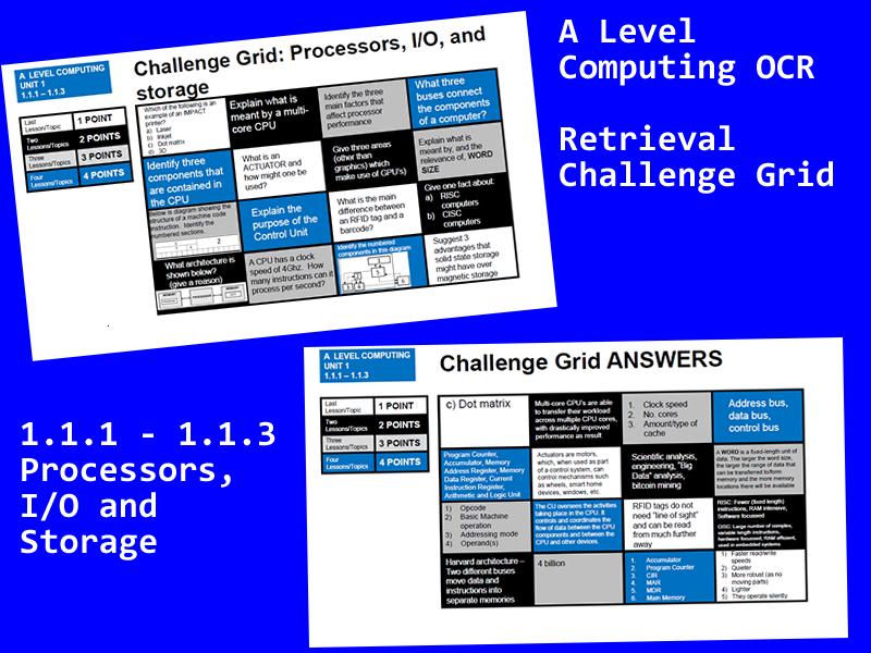 OCR A Level Computing - retrieval grid for 1.1.1