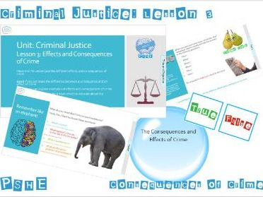 PSHE Criminal Justice: Lesson 3 Consequences of Crime - Whole Lesson
