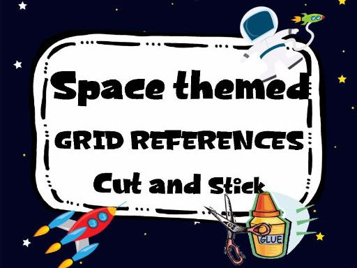 Space themed Grid References Cut and Stick