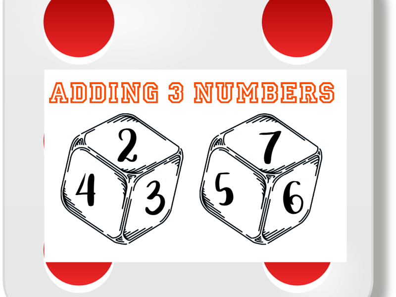 Add 3 Numbers Dice Activity Sheets