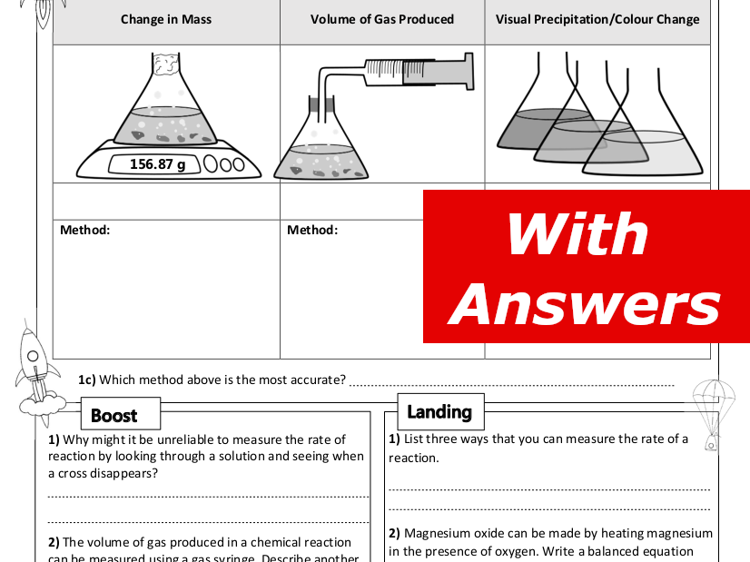 Measuring Rates of Reaction Home Learning Worksheet GCSE
