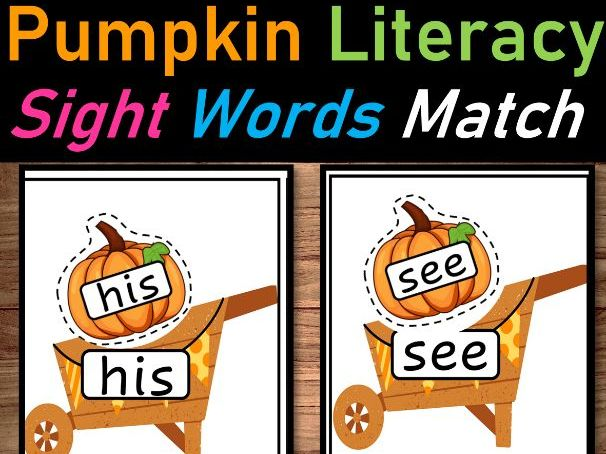 Pumpkin Literacy Centers Sight Words for October  First 40 Sight Words