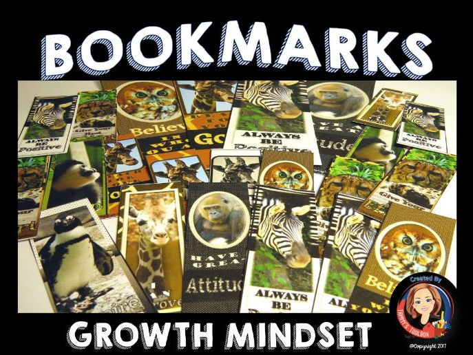 Growth Mindset Bookmarks - Wild Animal Theme