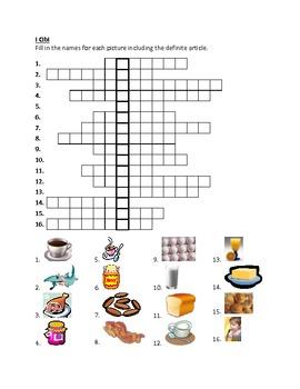 Cibi (Food in Italian) acrostic puzzles