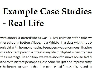 Real life case study assessment - Anorexia, Clinical Psychology