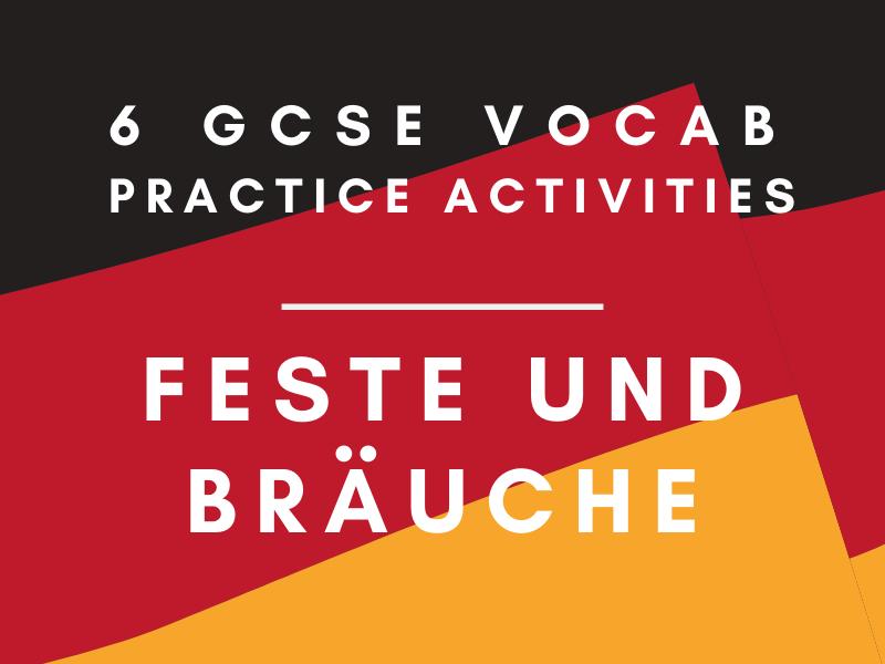 German GCSE Customs and Festivals Vocab Worksheet