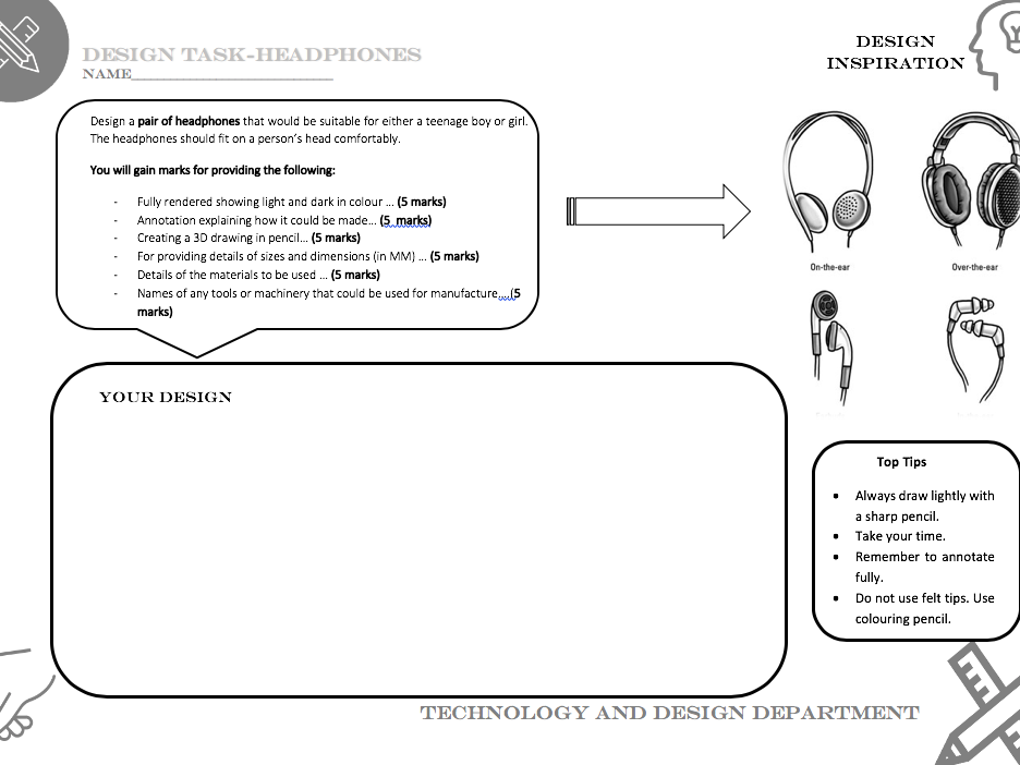 Earphone design task worksheet- Suitable for covering Technology and Design lessons