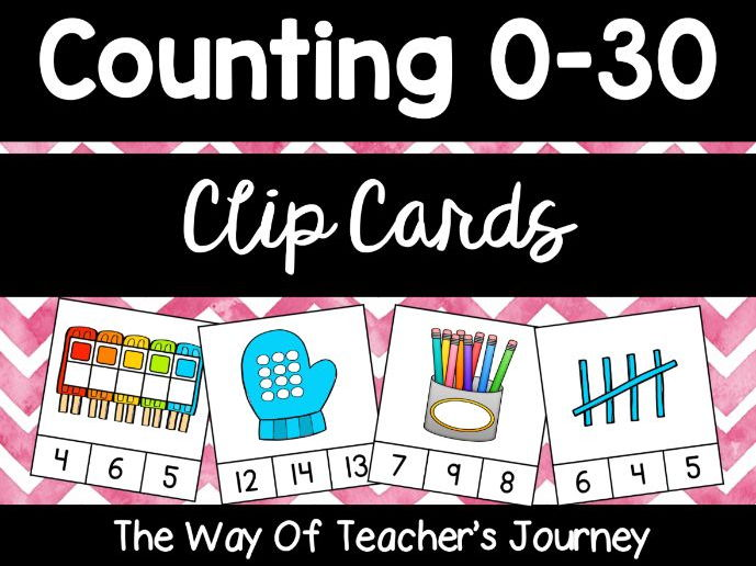 Counting Clip Cards 0-30 - Free for first time customers - Apply discount code NOVEMBERNEWBIE