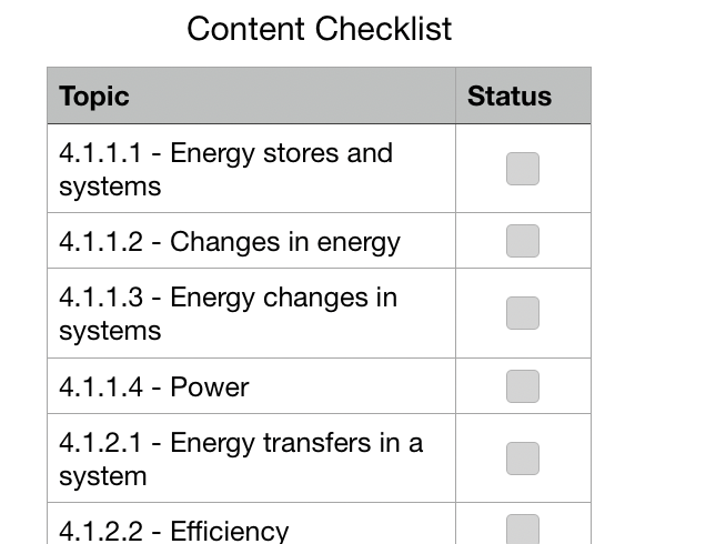 AQA Physics Checklist (Apple Numbers)