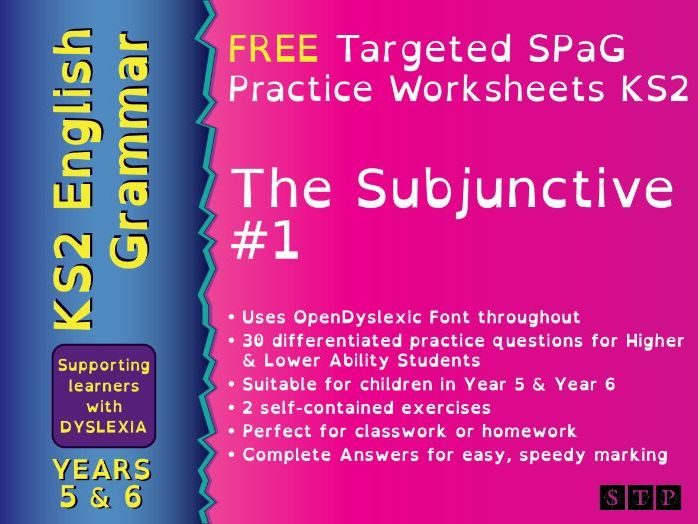 Subjunctive Form Worksheets Dyslexic Learners Year 5 Year 6 KS2