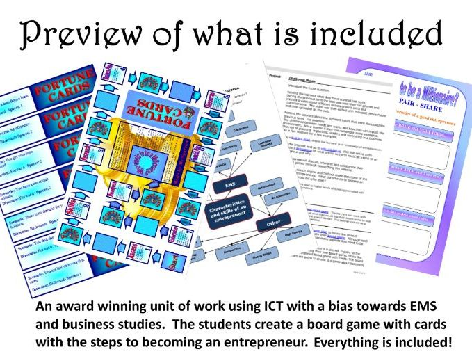 ICT KS 2/3 Create a board game on how to become an entrepreneur
