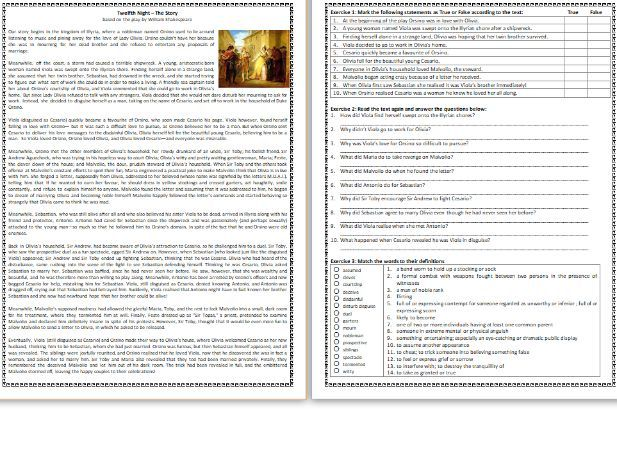 Twelfth Night - The Story - Reading Comprehension Worksheet