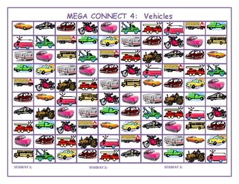 Vehicles Mega Connect 4 game