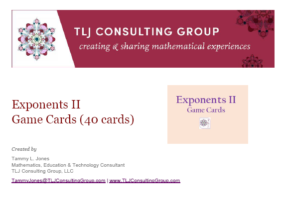 Exponents II Game Cards (40 Cards)