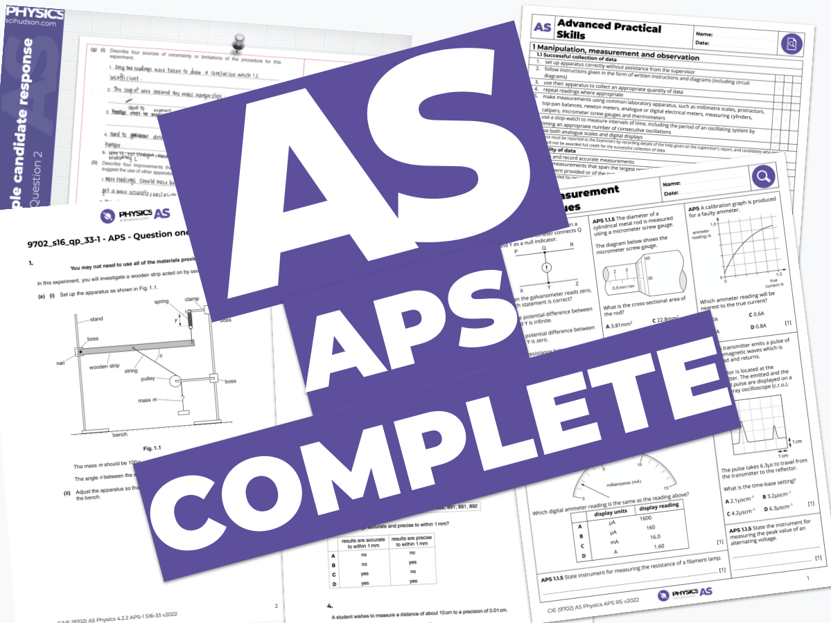 AS Physics 9702 - COMPLETE - Advanced Practical Skills