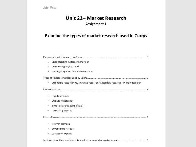 Unit 22 Market Research Assignment 1 Learning Aim A Examine the types of market research in business