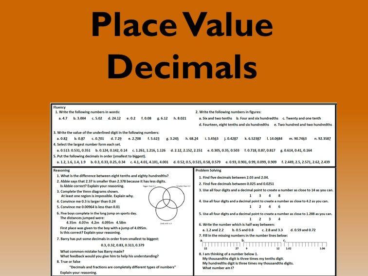 Place Value - Decimals Problem Solving Mastery Worksheet