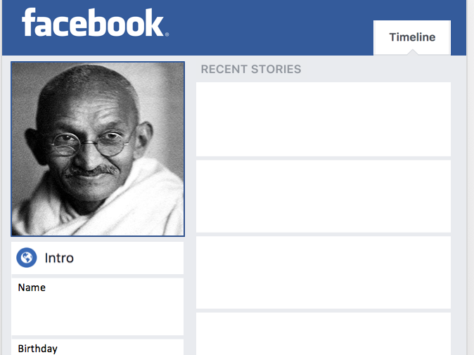Martin Luther king and Gandhi Facebook profiles