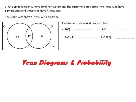 Probability and Venn Diagram worded questions worksheet with answers.