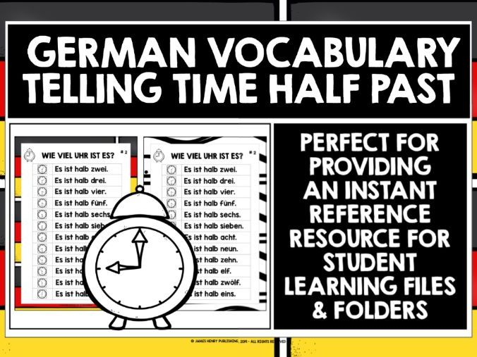 GERMAN TELLING TIME HALF PAST REFERENCE MAT