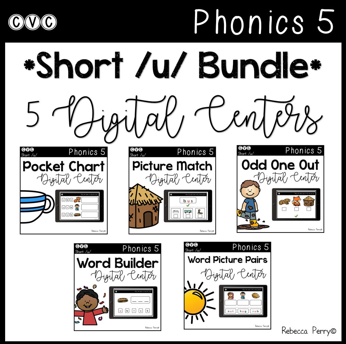 CVC Short U - 5 Digital Centers - Phonics (Google Classroom)
