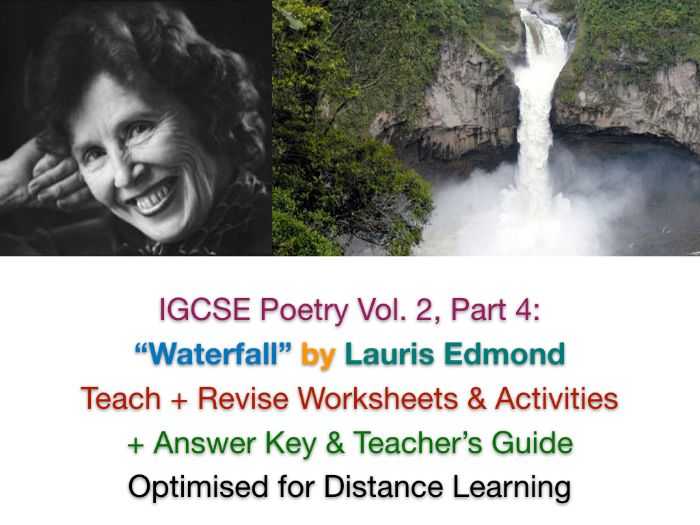 "IGCSE Poetry: ""Waterfall"" (Lauris Edmond) - NO PREP TEACH + EXAM PREP + ANSWERS"