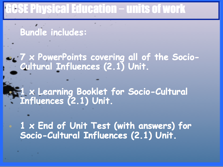 GCSE OCR PE Socio-Cultural Influences (2.1) Unit of Work