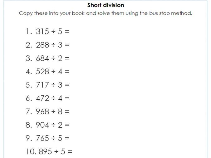 Year 5 6 Short Division Using The Bus Stop Method Differentiated