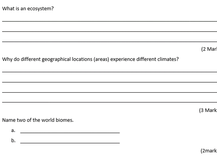 Geography- Savanna and Ecosystems Assessment