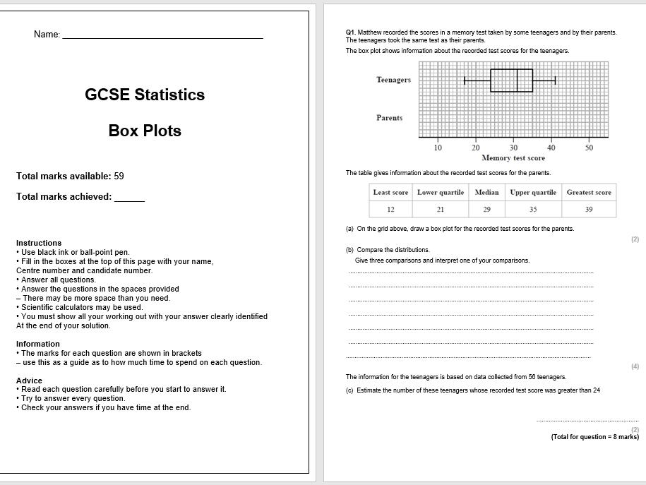 Box Plots Exam Questions (GCSE Statistics)