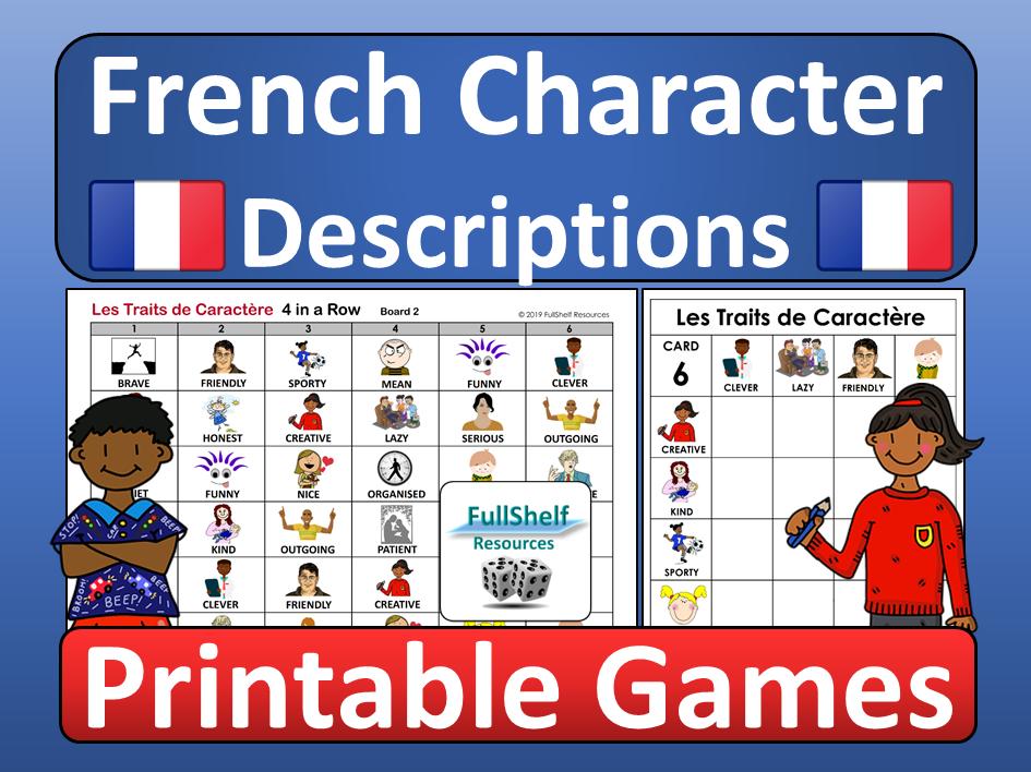 Describing People Character Traits Games