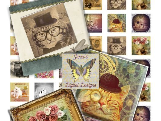 Digital Whimsical Cats Collage Sheets, Square Images