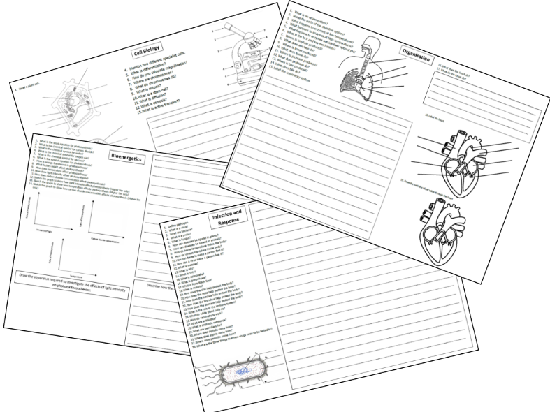 GCSE Biology and Trilogy Paper 1 Topics Revision Sheet 9-1 AQA
