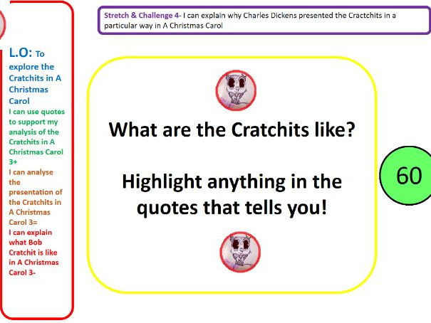 A Christmas Carol - Charles Dickens analysing the cratchits full lesson