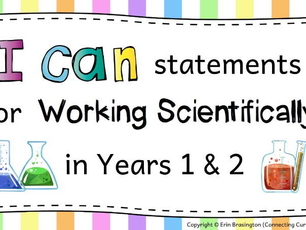Working Scientifically I can Statements for Years 1 & 2