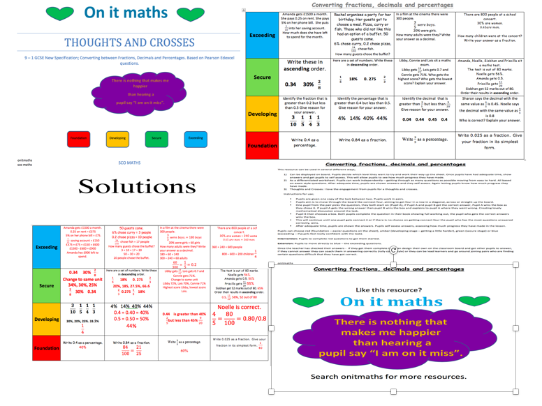 9 - 1 GCSE; Converting FDP Thoughts and Crosses