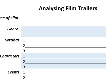 Analysing Film Trailers - Genre, Setting, Characters and Events