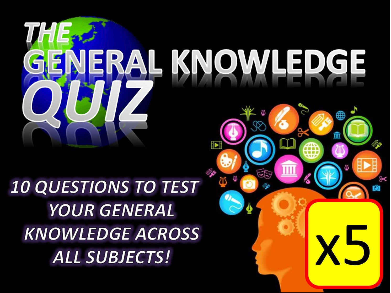 5 x The General Knowledge Pub Quiz (#1-5) Form Tutor Time Cross Curricular Settler End of Term