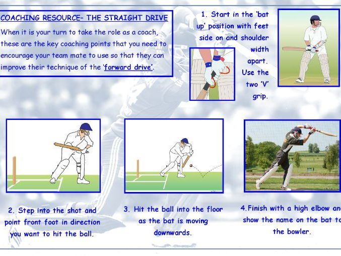 Cricket front foot drive/hexagon cricket resource-Ideal for interview/observation lessons