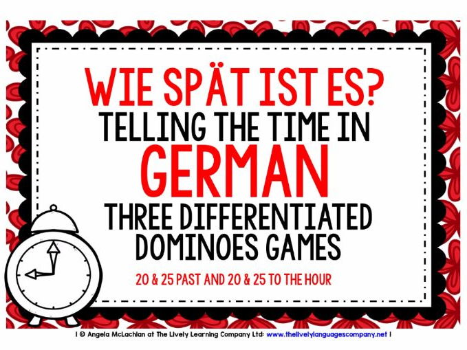 GERMAN TELLING THE TIME (3) - THREE DIFFERENTIATED DOMINOES GAMES