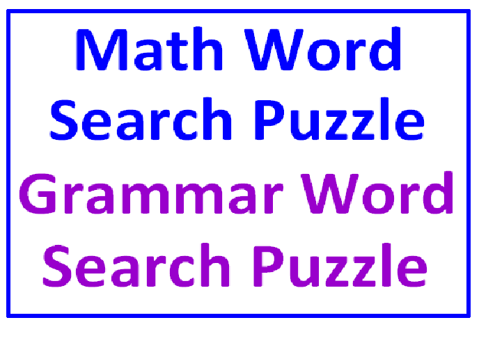 Math Word Search Puzzle PLUS Grammar Word Search Puzzle