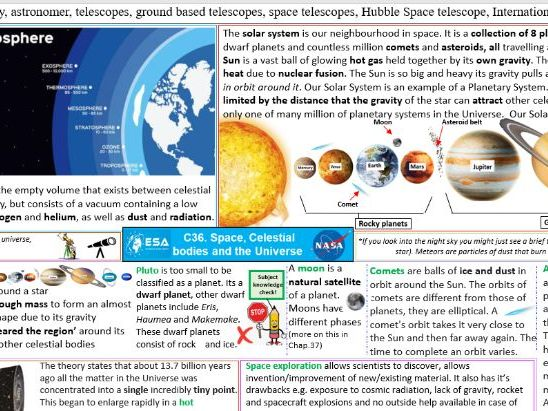 Space, celestial bodies and the universe
