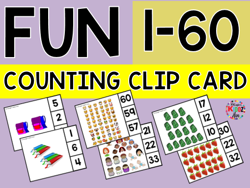 Distance Learning. Counting to 60 Fun Clip Cards