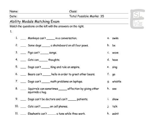 Ability Modals Matching Exam