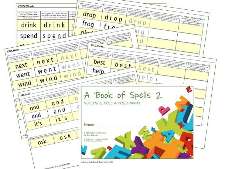 Book of Spells 2 - Spelling Practice Book VCC CVCC CCVC CCVCC words - PhonicsforSEN