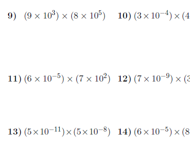 Multiplying in standard form worksheet (with solutions)