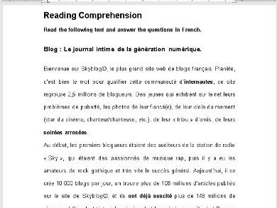 Reading comprehension GCSE AS: blog new technology Internet social media