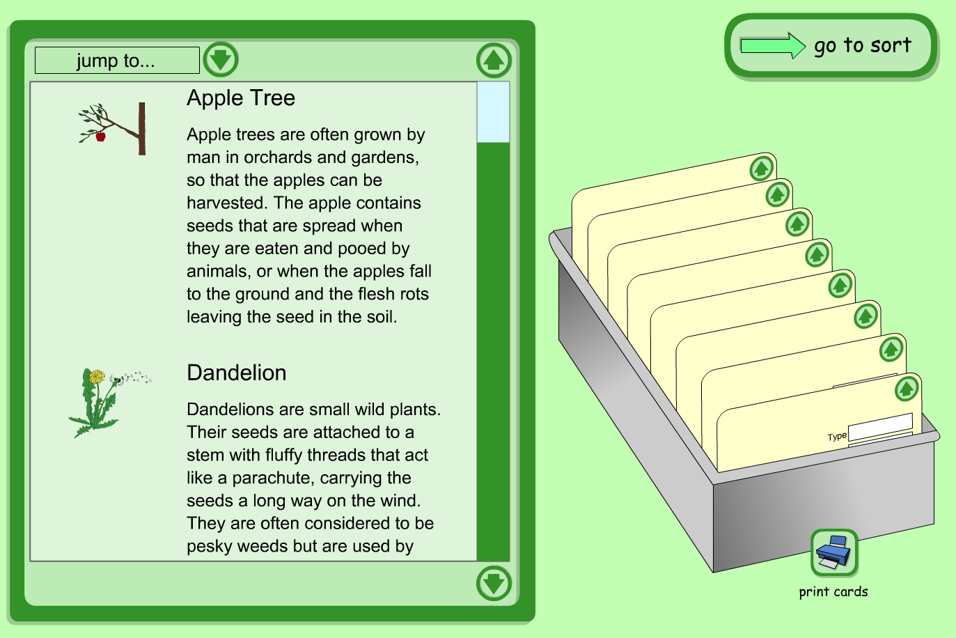 Interactive Index Cards Activity - Plants and Trees  - KS1 Literacy